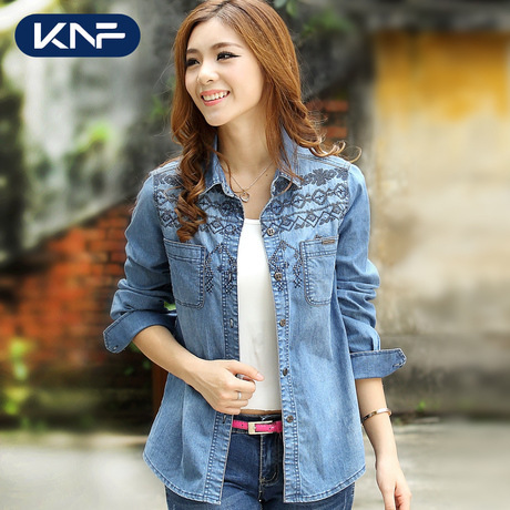 Women Denim Shirts Long Sleeve Blue Female Shirt Casual
