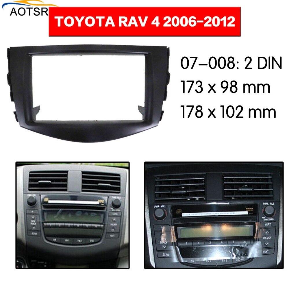 Black Fascia Facia Panel Adapter Double Din Frame For RAV4