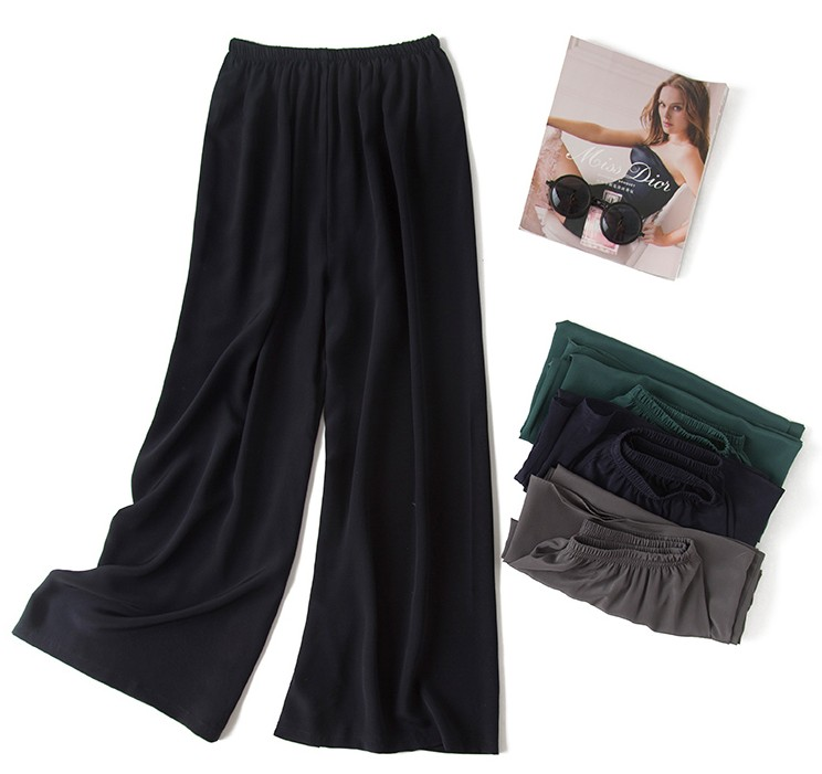 Women's 100% Pure Silk Loose Type Long Pants Trousers One Size In 5 Colors JN012