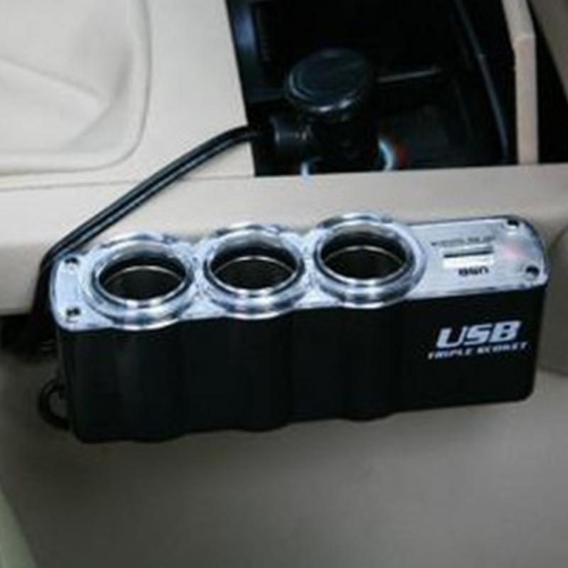 Горячие продажи 3 Способ тройной автомобильного прикуривателя сплиттер 12 в/24 в +USB автомобильное зарядное устройство
