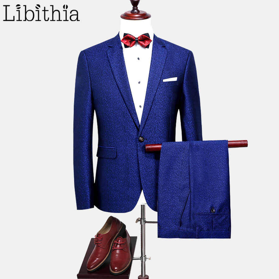 Men Casual One Button 2 Pieces Suits High Quality Slim Fit Jacket and Pant Wedding Party Suits Blazer M-4XL All-season Blue F065 ...