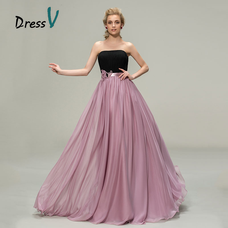 Buy dressv a line chiffon black purple for Maid of honor wedding dresses
