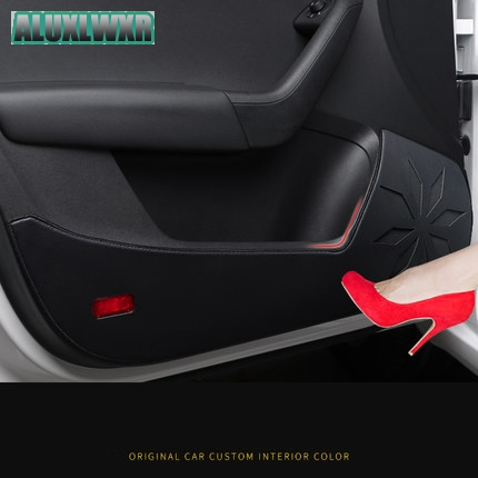 все цены на 4Pcs Car Door Anti-kick Pad Sticker Microfiber Leather Door Protection Side Edge Decal For Chery Tiggo 2 3 5 7 FL for Chery A13 онлайн