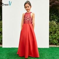 Dressv red pescoço da colher a linha de vestido da menina flor zipper até o chão vestido de festa de casamento formal vestido de cetim da menina de flor vestidos
