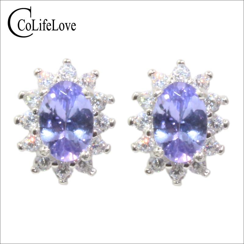 100 natural tanzanite wedding earrings 4 mm 6 mm real tanzanite stud earrings solid 925 silver