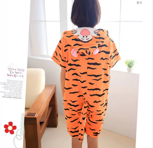 Funny Cute Cartoon Cosplay Animal Anime Angry Tiger Adult Summer Onesie Cosplay Pajamas for Women Men 100% Cotton