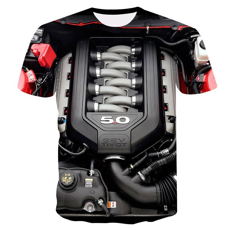 2019 dos homens do Verão t-shirt T-shirt Da Motocicleta Do Punk Roupas Roupa Retro Mecânica Camiseta Tops Tees t-shirt Dos Homens Engraçados 3d