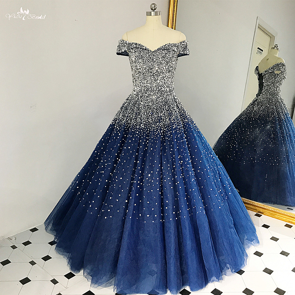 RSE848 Stunning Navy Blue Ball Gown Bling Bling Silver Beads Shining Long Vestidos Festa Formal Gowns Off Shoulder Prom Dress gown