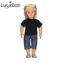 Luckdoll Fashion Solid T Shirt + Jeans Fits 18 Inch American Doll Doll Accessories