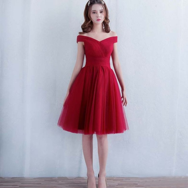 414983f56bd2 Robe De Soiree New Sweetheart Off-the-shoulder Short Bridesmaid Dress Wine  Red Elegant