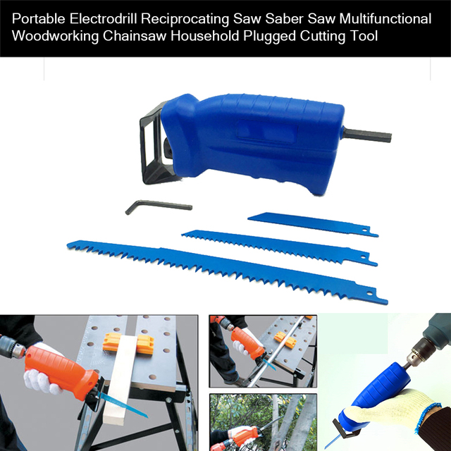 Power Tool Accessories Reciprocating Saw Metal Cutting Wood Cutting Tool Electric Drill Attachment with 3 Blades Trimming Tool 2