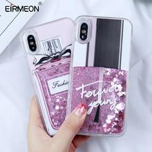 EIRMEON For iPhone SE Case Bottle Liquid Quicksand Heart Glitter Cover 6 6s 7 8 Plus 5 5S Silicone PC Dynamic Fundas