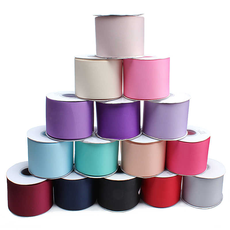 (25 Meter/Lot) 100% Polyester Liston 3 Inci 75 Mm Warna Solid Grosgrain Rambut Busur Pita