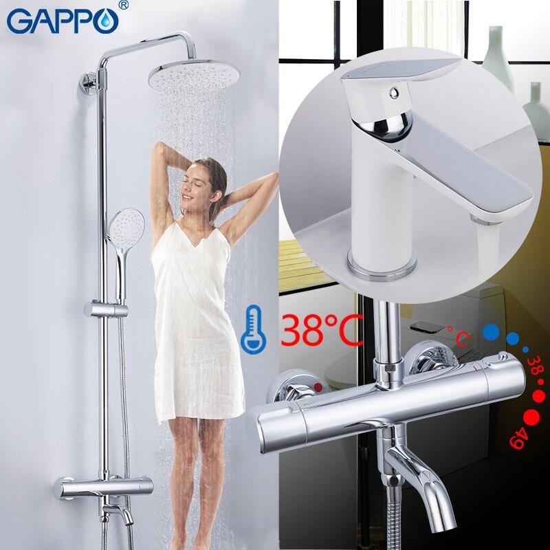 GAPPO Douche Robinets chrome blanc salle de bain thermostatique de douche robinets mélangeur bain douche tête définit bassin mélangeur de douche système