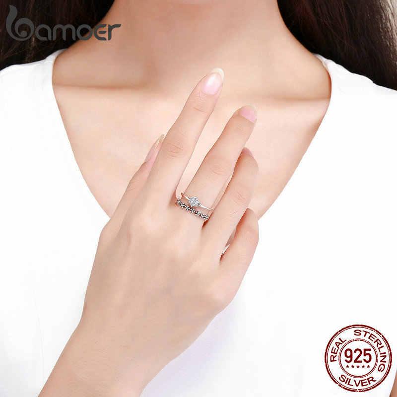Bamoer genuíno 925 prata esterlina elegante daisy flor dedo anel ajustável tamanho aberto anéis para mulher prata jóias scr428