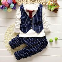 2017 Fashion Baby Boy Clothes Sets Gentleman Suit Toddler Boys Clothing Set Long Sleeve Kids Boy