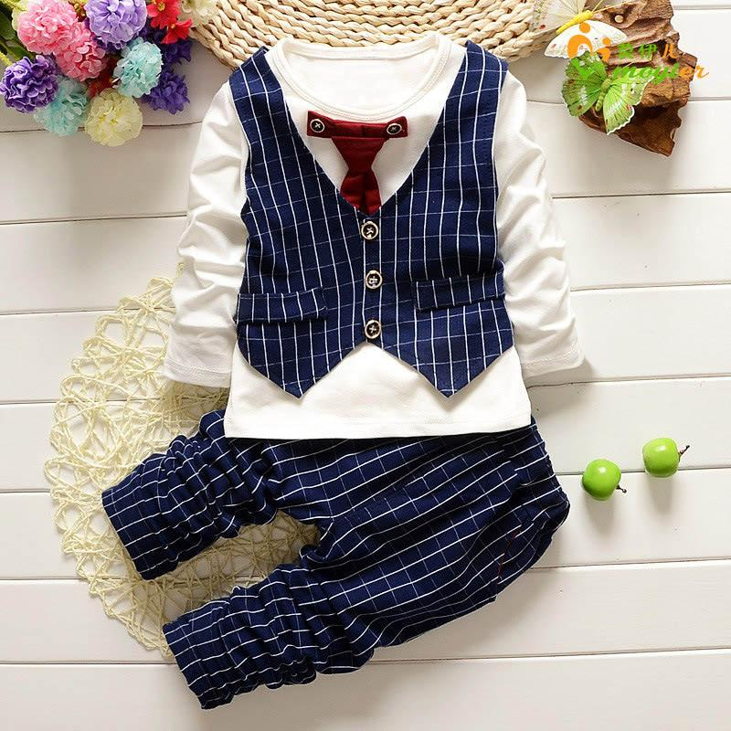 2018 Fashion Baby Boy Clothes Sets Gentleman Suit Toddler Long Sleeve Shirt + Tie + Pants 3pcs Kids Clothes Christmas Outfits
