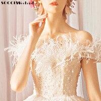 SOCCI Weekend Appliques Vintage Feathers Wedding Dress 2018 Ivory Beading Bridal vestido de noiva off shoulder Marriage Dresses