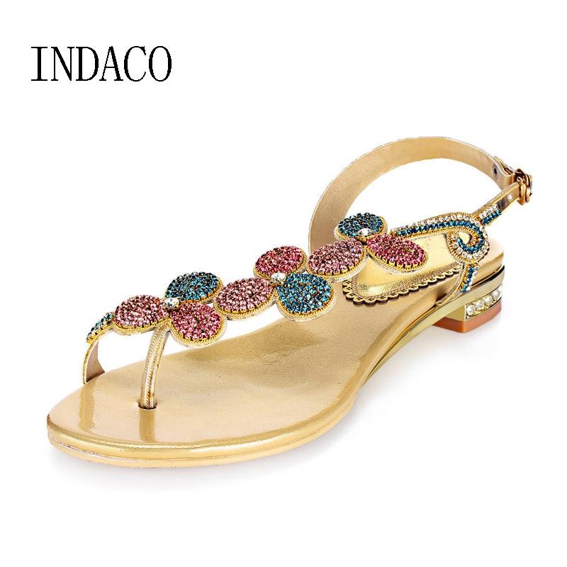 Thong Rhinestone Gold Flat Sandals Summer Diamond Sandals