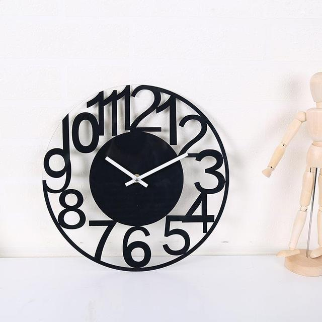 LumiParty Concise Style Sturdy Double Layers Pmma Acrylic Wall Clock 12*12″  Less Than 20lb Sound AA Battery Power -20