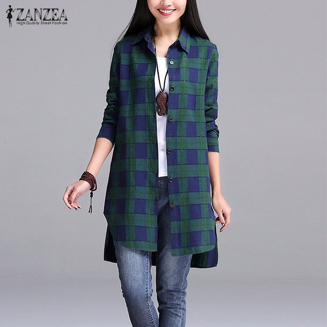 ZANZEA 2016 Women Autumn Plaid Shirts Lapel Long Sleeve Asymmetrical Split Blouses Loose Casual Blusas Tops Oversized S-5XL