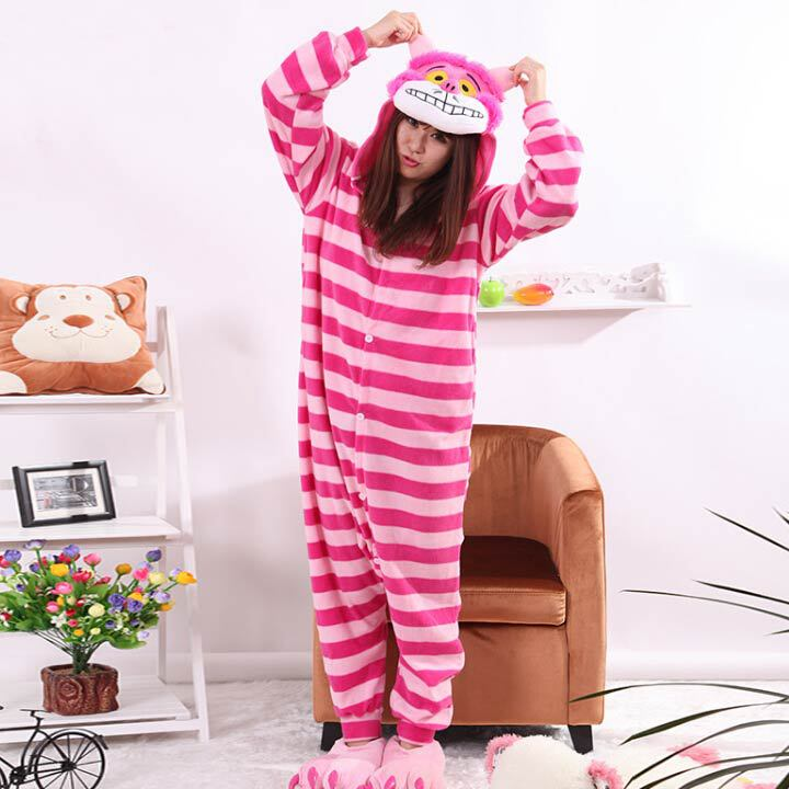Cheshire Cat Kigurumi Onesie Unisex Adult Sleepwear Pajamas Adult Animal Rompers Sleepsuit Cartoon Cosplay Costumes Pyjama