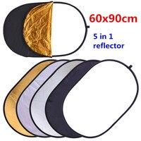 Светоотражатель CY для фотостудии, складной портативный рефлектор 5 в 1, 60х90 см, 24х35 дюймов, овальная форма, с держателем
