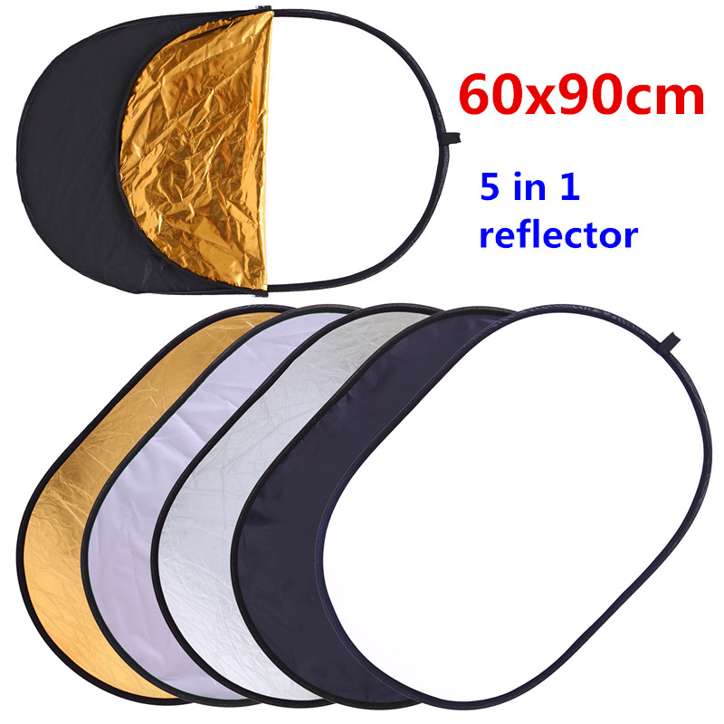 CY 60x90cm 24''x35 '' 5 in 1 Studio de fotografiere multi-disc Photo Oval Collapsible Light Reflector de mână portabil foto disc