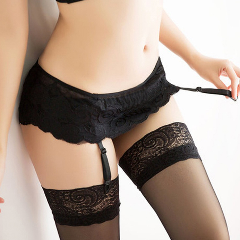 1Set Fashion Women Sexy Lace Soft Top Thigh-Highs Stockings + Suspender Garter Belt Black White