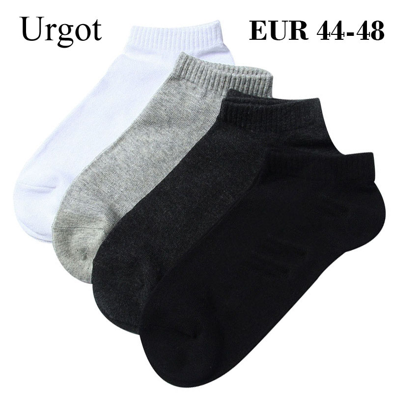 Urgot 5 Pairs Large Big Plus Size 46,47,48 Mens Socks Business Casual Ankle Socks All-match Pure Color Cotton Calcetines Hombre