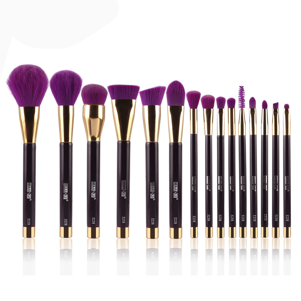 Professional 15PCS Cosmetic Makeup Brush Facial Women Beauty Foundation Makeup Brush Eyeshadow Blush Cosmetic Brush Tools new design stamp seal shape face makeup brush foundation powder blush contour brush cosmetic facial brush cosmetic makeup tool