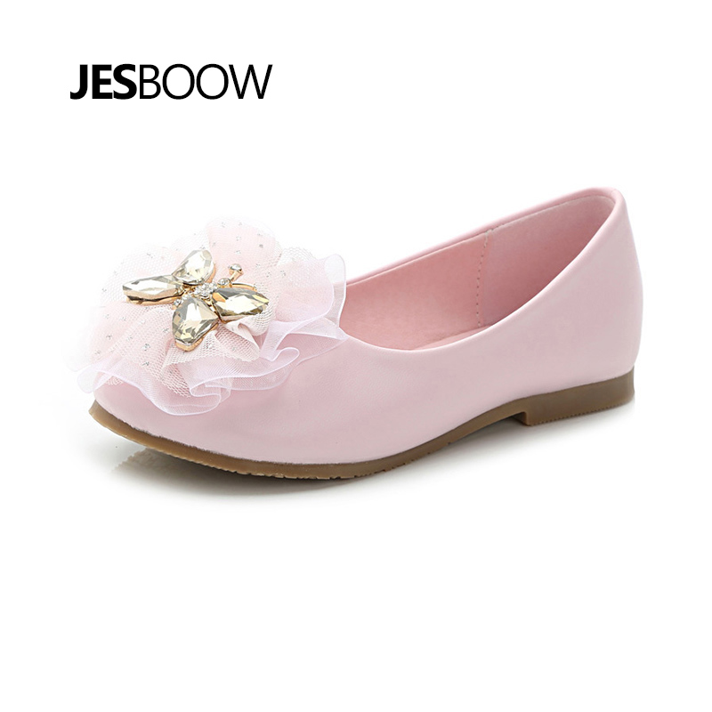 Children's shoes girls crystal butterfly flower shoes school dancing shoes princess shoes pink : 91lifestyle