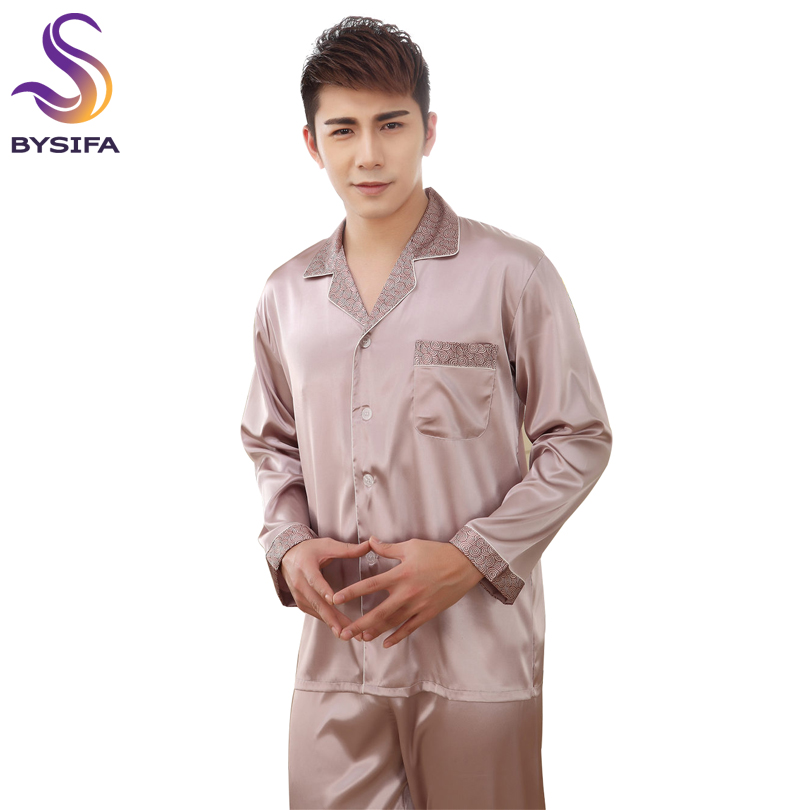BYSIFA Grey Men Silk Pajamas Set Fashion Modern Style Male Home Apparel Sleep Lounge Plaid