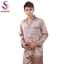 [BYSIFA] Grey Men Silk Pajamas Set Fashion Modern Style Male Home Apparel
