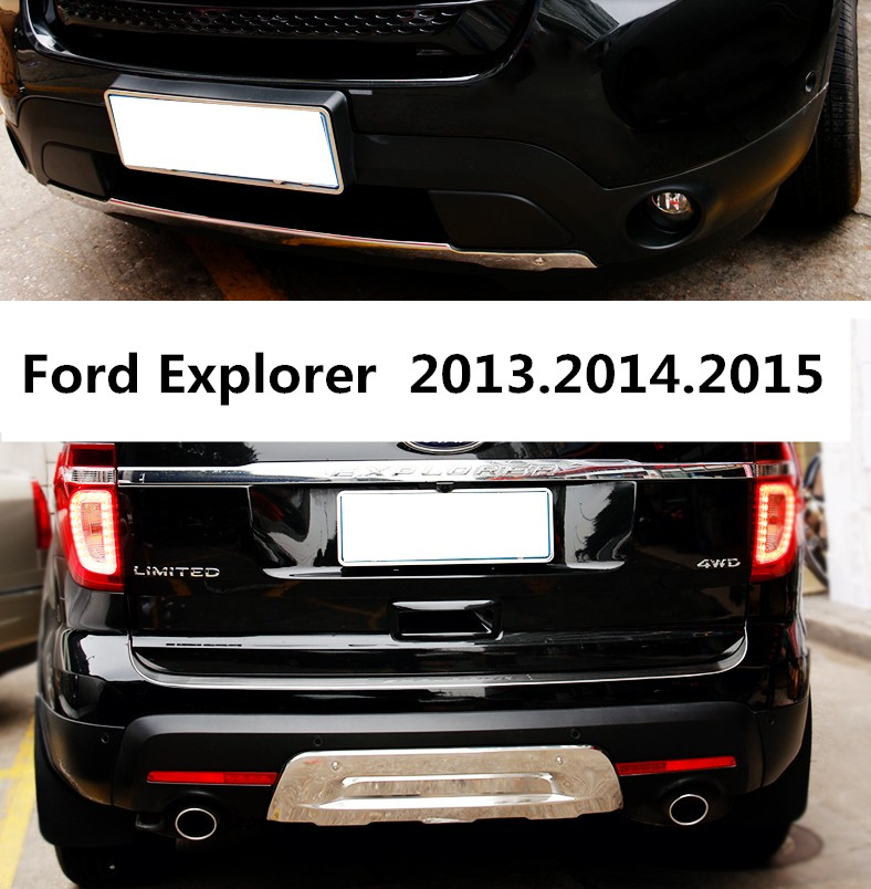 For Ford Explorer 2013.2014.2015 Bumper Protector Guard Anti-impact Plate HighQuality Stainless Steel Front+Rear Car AccessoriesFor Ford Explorer 2013.2014.2015 Bumper Protector Guard Anti-impact Plate HighQuality Stainless Steel Front+Rear Car Accessories