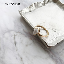 WFSVER 925 sterling silver ring for women gold color water drop shape with turquoise stone rings opening adjustable fine jewelry