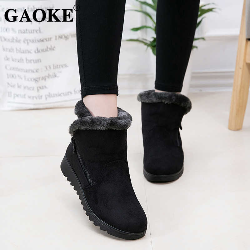 2019 Woman Shoes Woman Winter Snow Boots Warm Ankle Boots Platform Rubber Female Boots Winter Snow Footwear Lady Low Heel Shoes
