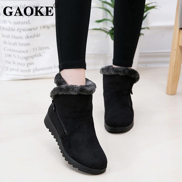 2018 여성 신발 여성 겨울 스노우 부츠 따뜻한 발목 부츠 플랫폼 고무 여성 부츠 겨울 눈 신발 여성 낮은 뒤꿈치 신발
