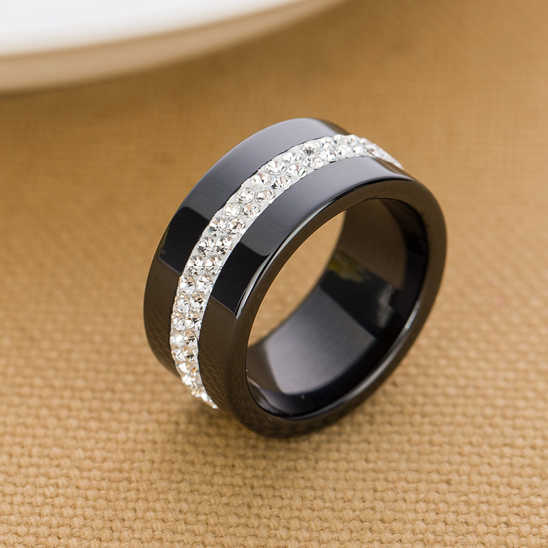 10mm Black And White 2 Row Crystal Ceramic Rings Women Engagement Promise Wedding Band