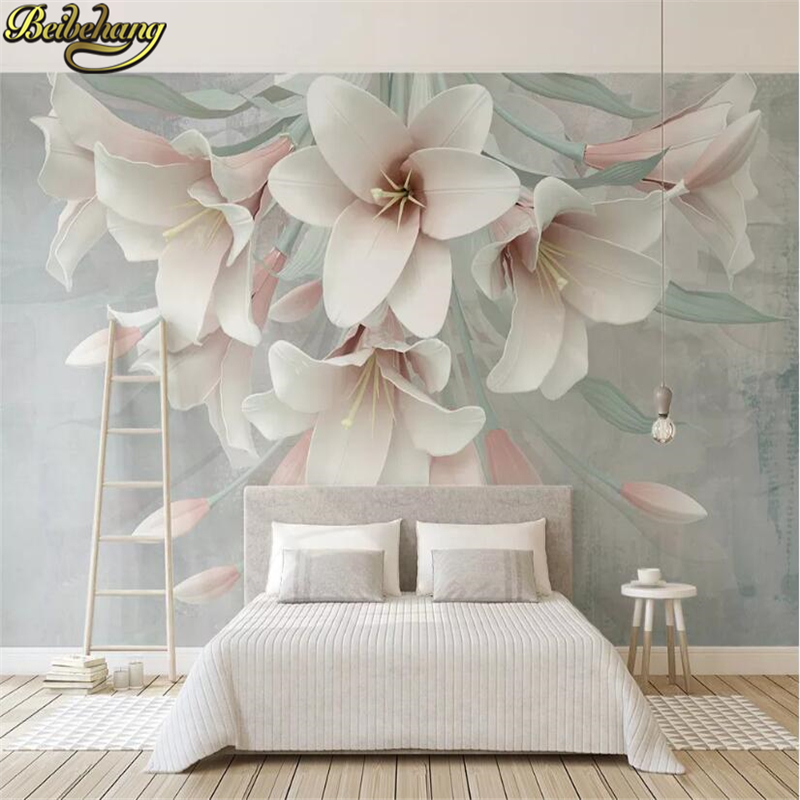 Beibehang Custom Pink Lily Flower Relie Photo Wallpaper For Living Room Background 3D Mural Wall Papers Home Decor Bedroom Walls