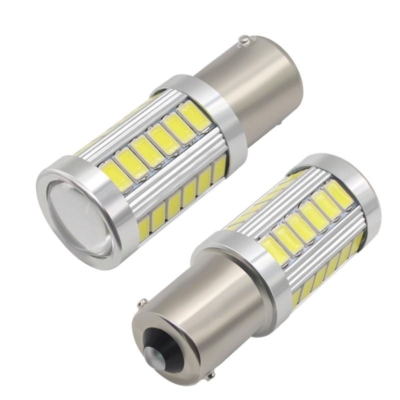 2PCS Car Light Signal Lamp 1156 BA15S P21W Led Led Turn Brake Light Tail Lamp 33SMD 5730 LED Auto Rear Reverse Bulb R5w