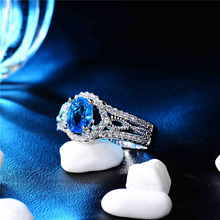 Atreus Amazing Blue Zircon CZ Silver Color Party Rings Size 7 8 9 Famous Bands Female Women Jewelry Accessories Newest Design!