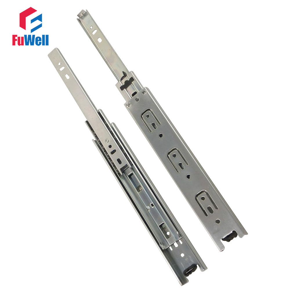 2pcs 13inch Length Drawer Slides Rail 38mm Width Cold-Rolled Steel Fold Telescopic Ball  ...