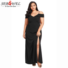 SEBOWEL Sexy Plus Size Black Off Shoulder Long Dress Women Summer Elegant Party Floor-Length Female Big Gown 2XL-4XL