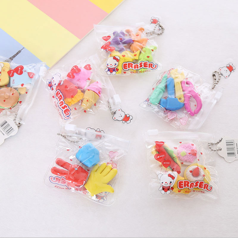 3pcs / Bag Eraser Puzzle Creative Stationery Children Cute Cartoon Eraser Primary School Prizes School Kawaii School Supplies