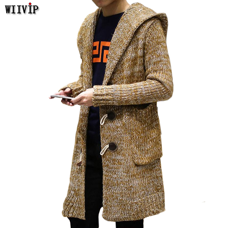 Men Autumn Winter Sweater Loose Knited Sweaters 2017 Mandarin Collar Solid Cardigans Mens Outwear Button Sweatercoat Yw084