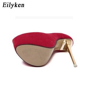 Image 4 - Eilyken Sexy Pumps Wedding Women Fetish Shoes Concise Woman Pumps Latform Very High Heel Stripper Flock Pumps 16 cm size 34 45