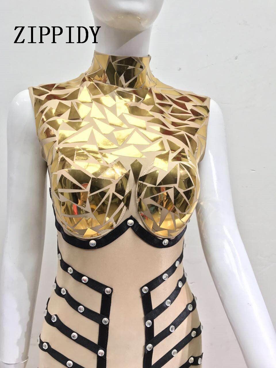 Étape Sexy Glisten Paillettes Scintillant Body Seule Barboteuses Costume Cristaux Soirée Conception Pièce Tenue De Salopette Parti D'une D'or qaa5Iw8