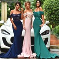 New Design Off Shoulder Long Evening Dresses Robe de Soiree 2017 Mermaid Prom Dress Navy Blue Pink Sequin Formal Party Gowns