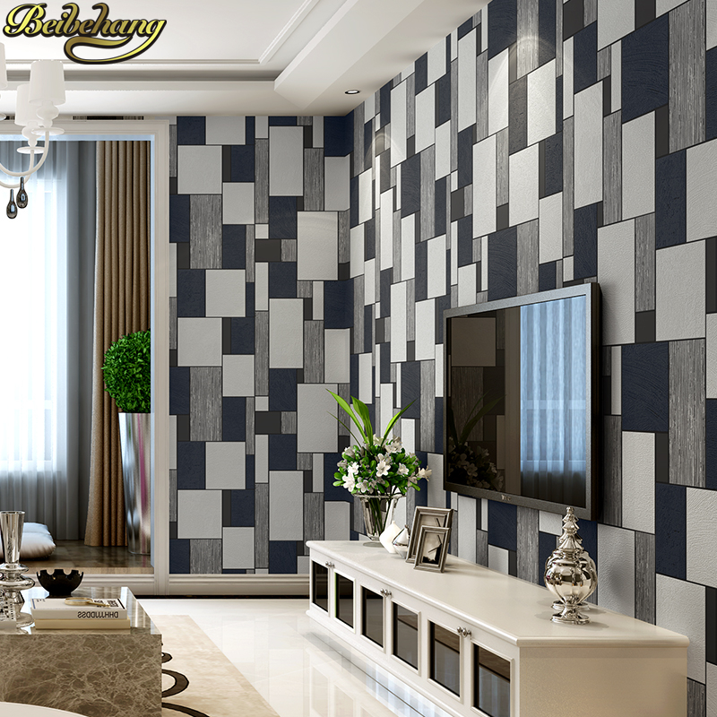 beibehang black mosaic non woven Wall paper roll Modern Embossed Flocking Wallpaper for Living room TV Background mural flooring beibehang european luxury diamond crystal 3d wallpaper flocking non woven wallpaper roll living room tv wall paper roll floral